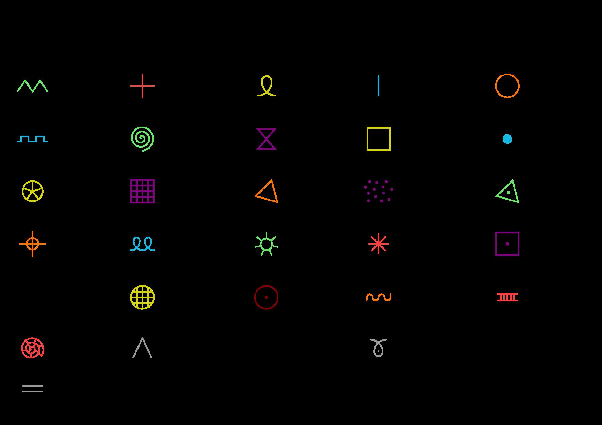 31 symboles graphiques couleurs