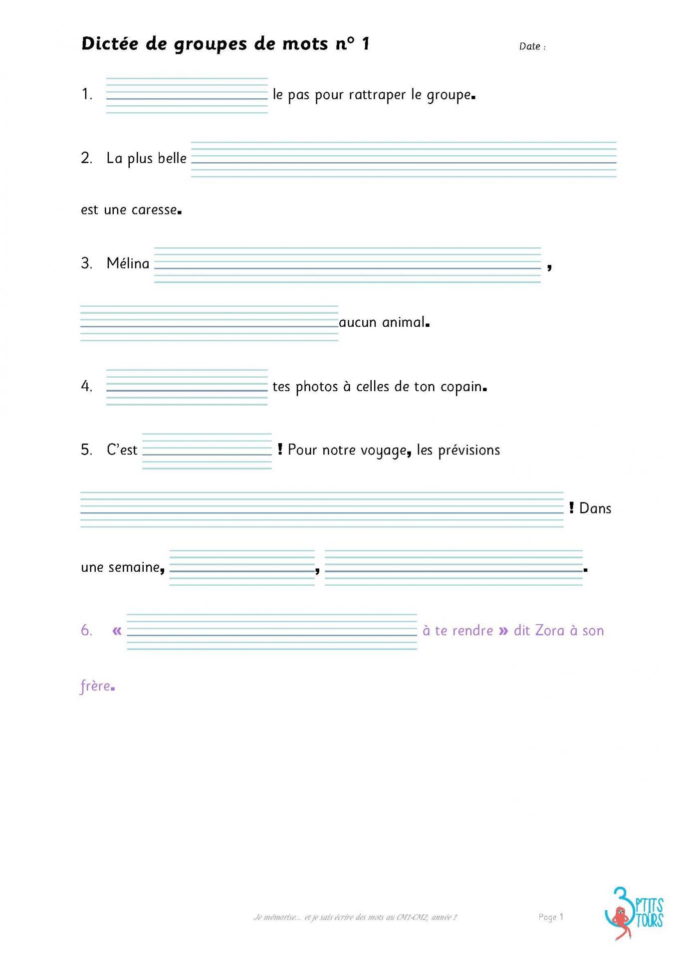 Dictees a trous je memorise et je sais ecrire des mots en cm1 cm2 annee 1 page 01
