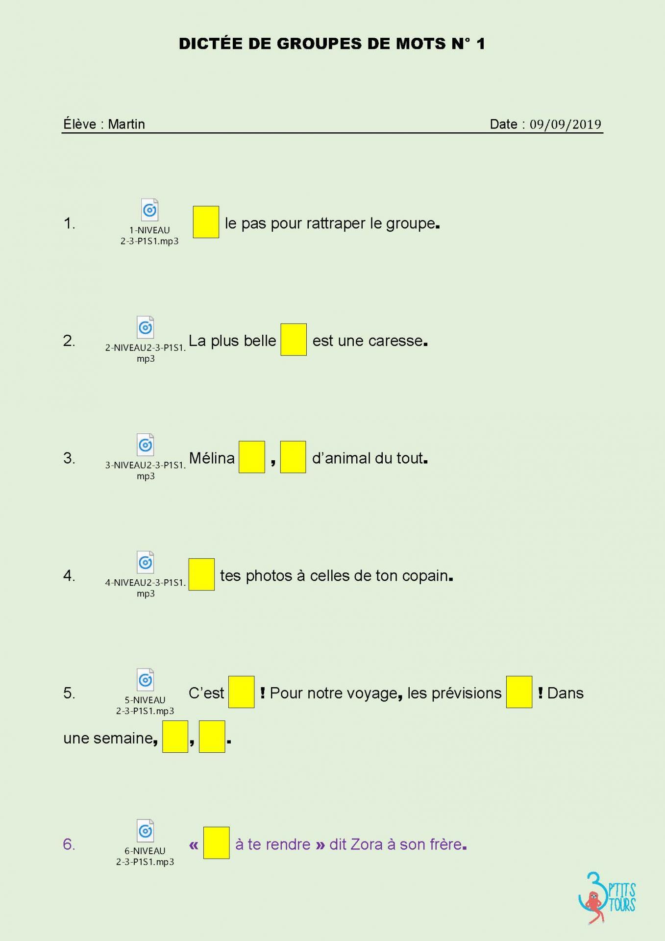 Dictees a trous version numerique avec audio je memorise et je sais ecrire des mots en cm1 cm2 annee 1 page 01