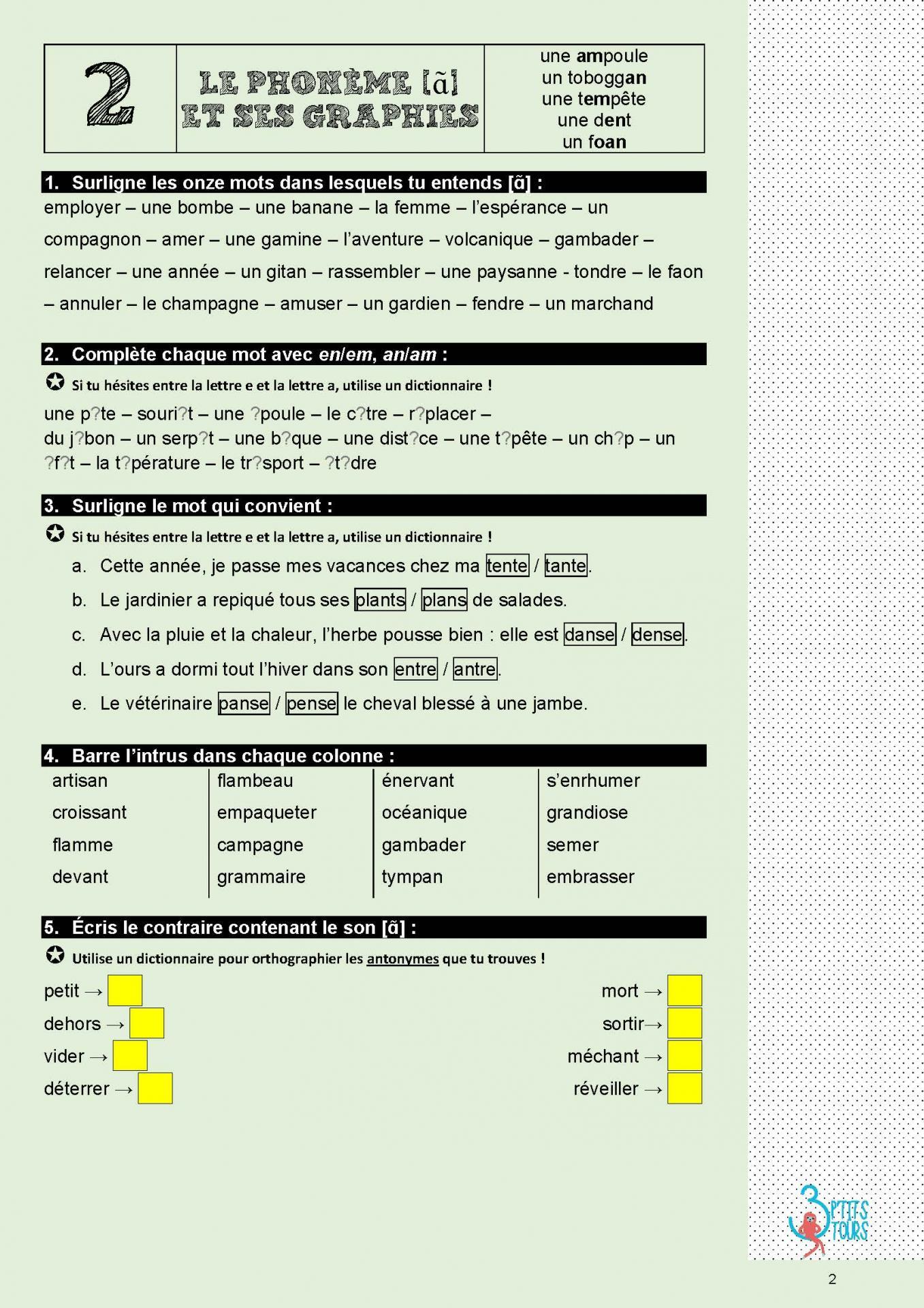 Exercices interactifs pour dys et eleves je memorise et je sais ecrire des mots en cm1 cm2 page 02