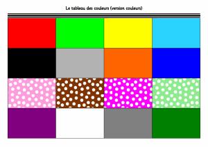 Le tableau des couleurs couleurs