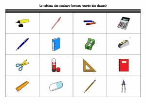 Le tableau des couleurs rentree des classes